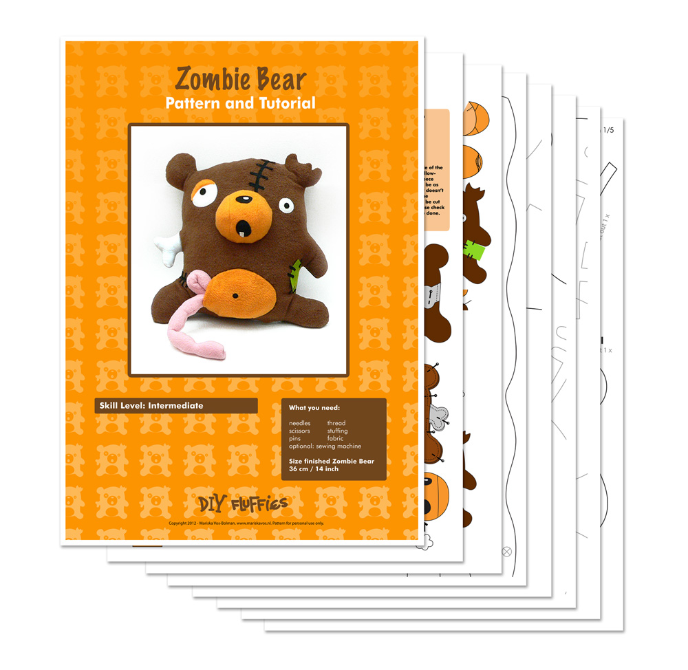 Toy patterns by diy fluffies zombie bear sewing pattern zombie bear sewing pattern jeuxipadfo Choice Image
