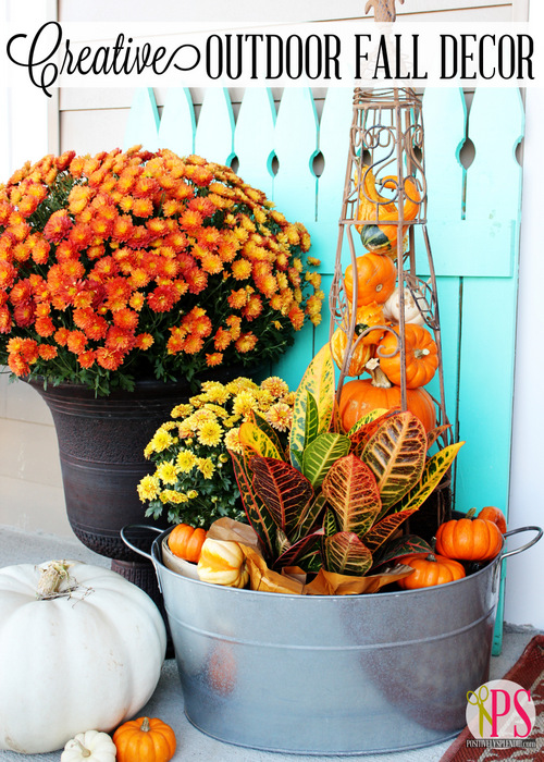 Creative outdoor fall decor positively splendid crafts for Fall decorations for outside the home