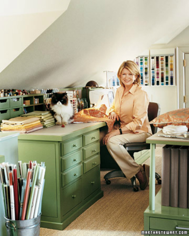 Martha stewart living craft space design improvised for Craft ideas for living room