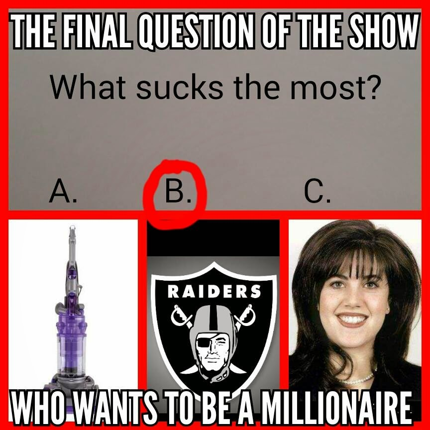 the final questions of the show what sucks the most? who wants to be a millionaire