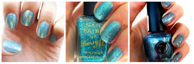 gold foil gold leaf blue nails barry m aqua glitter satch rhinestone glitter nails kallos w7 cosmic blue