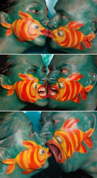 body painting peixes beijoqueiros