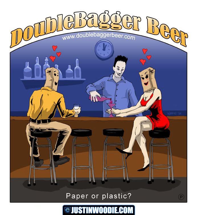 DoubleBagger Beer Bar Scene Concept Illustration For A T-Shirt