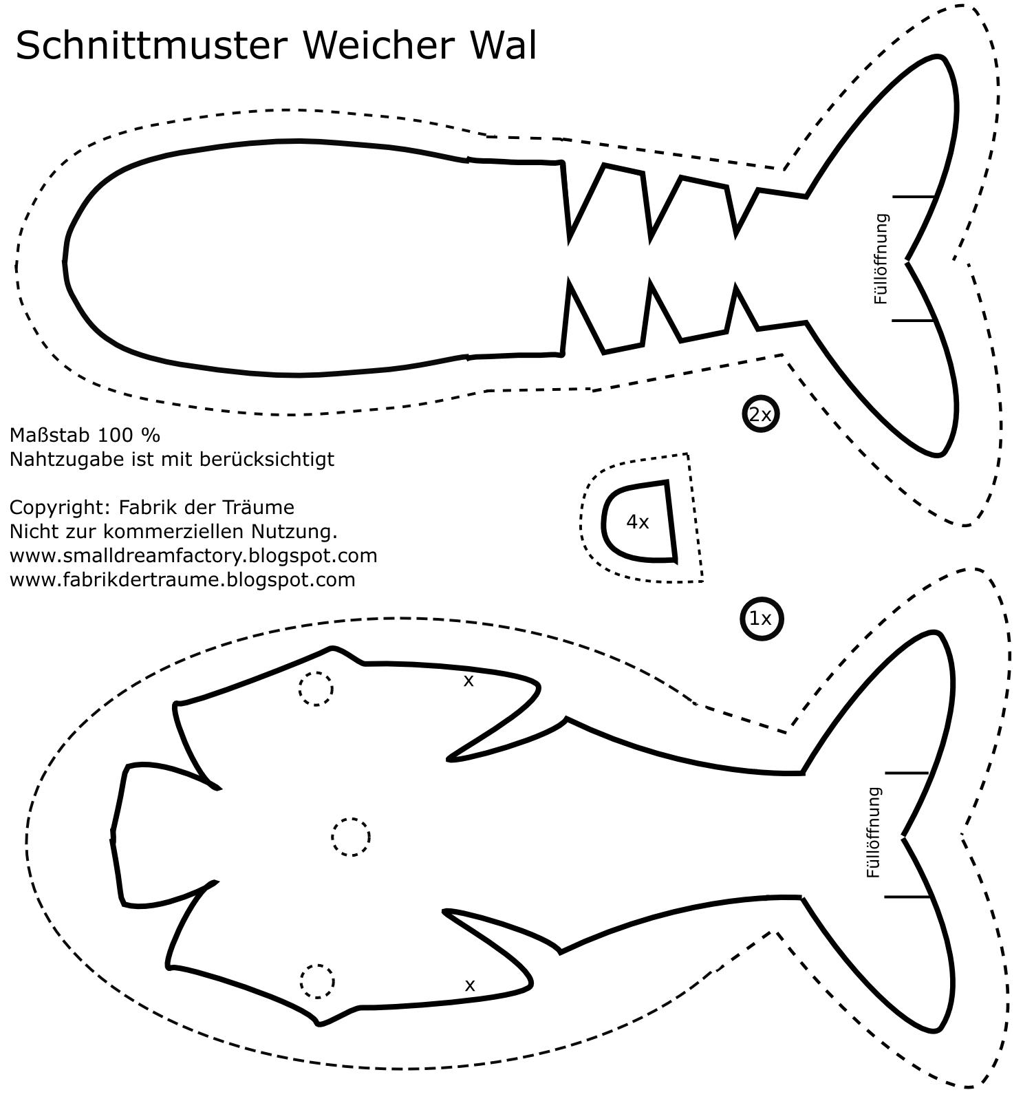 Fabrik der Träume: Kostenloses Schnittmuster Weicher Wal