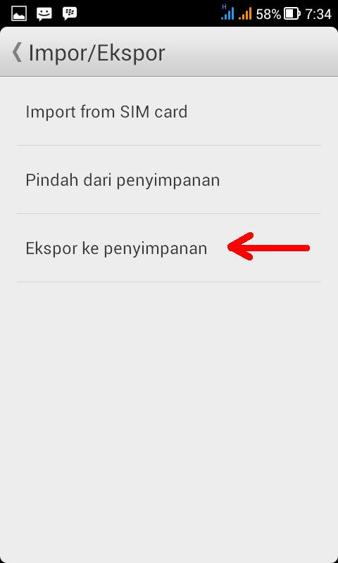 Menu Impor/Ekspor Kontak