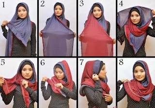 Cara Menggunakan Jilbab Segi Empat Santai