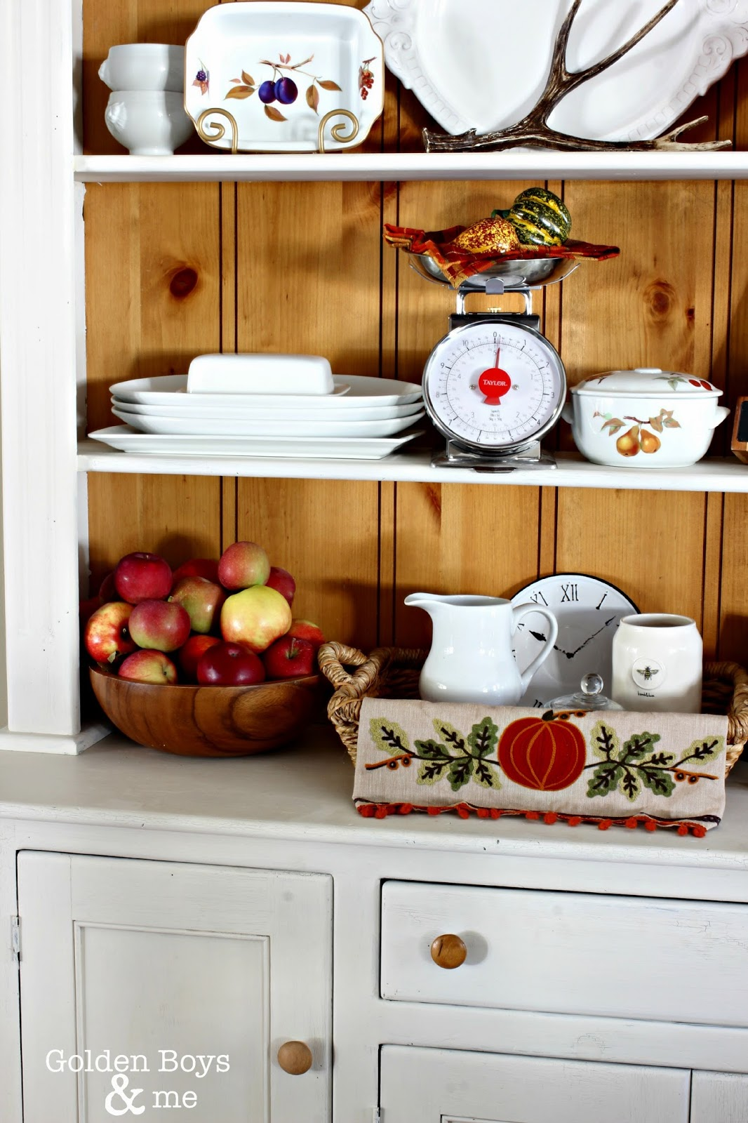 Fall hutch with apples in wood bowl-www.goldenboysandme.com
