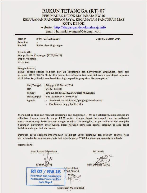 Surat Edaran Warga Kerja Bakti 16 Maret 2014 Depok