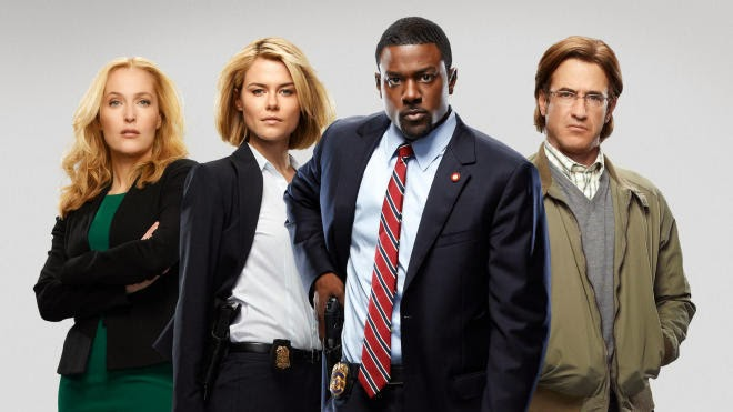 Gillian Anderson, Rachael Taylor, Lance Gross and Dermot Mulroney in Crisis on Watch