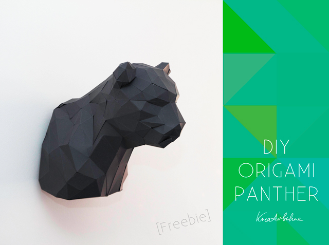 diy 3d origami panther im troph enlook freebie diy. Black Bedroom Furniture Sets. Home Design Ideas