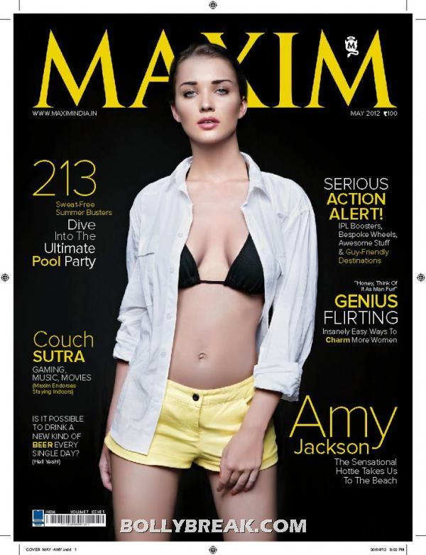 Amy Jackson on cover of maxim india magazine may 2012 - Amy Jackson Maxim Scans - Indian 2012 Edition