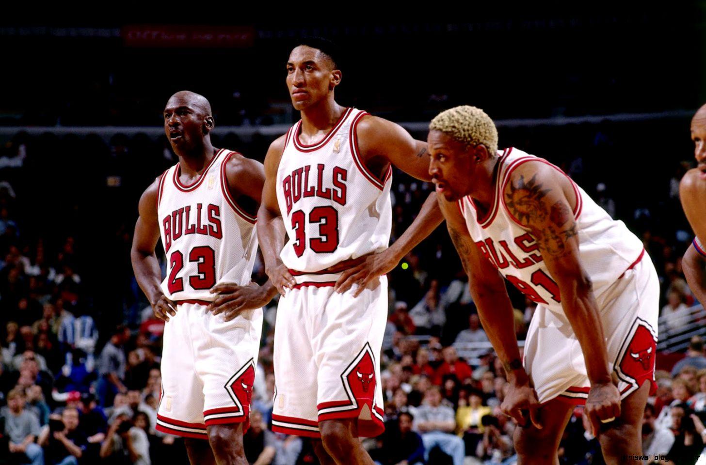 Michael Jordan Scottie Pippen and Dennis Rodman of the Chicago