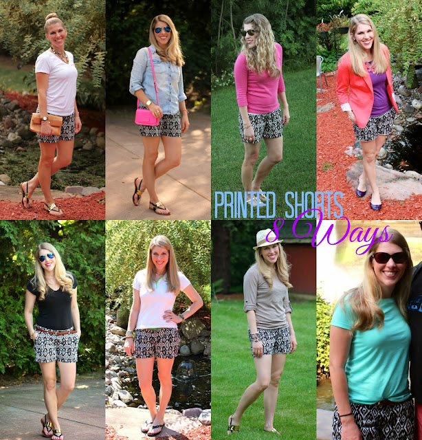 black and white printed shorts 8 different ways