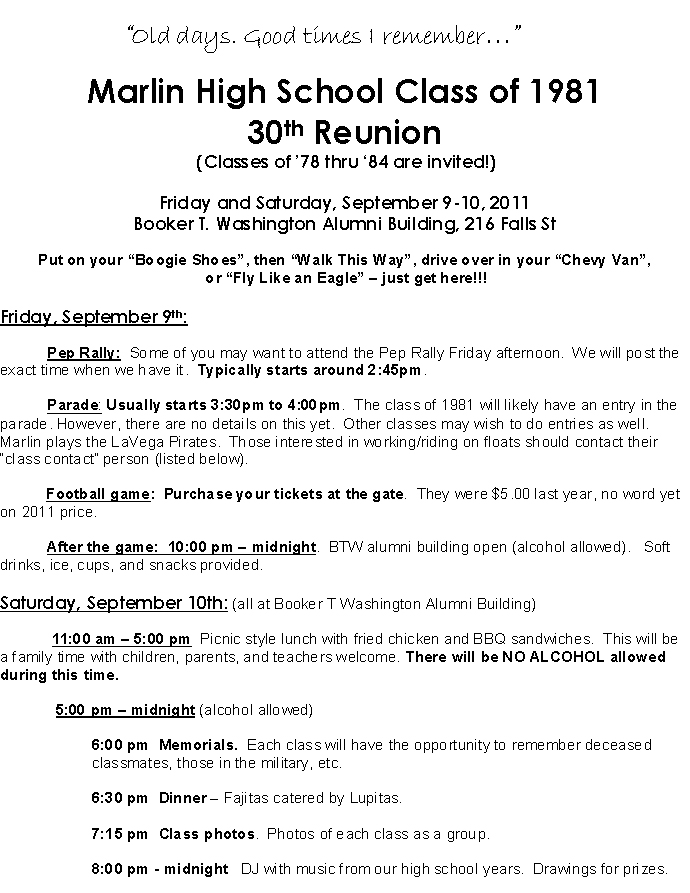 mhs class of 81 30th reunion invitationinfo registration form questionnaire
