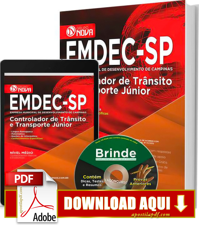 Apostila EMDEC 2015 PDF Download Grátis Controlador de Trânsito e Transporte