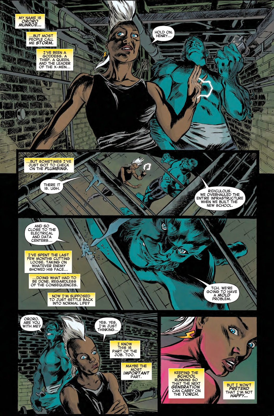 Storm and Beast at the X-Men school
