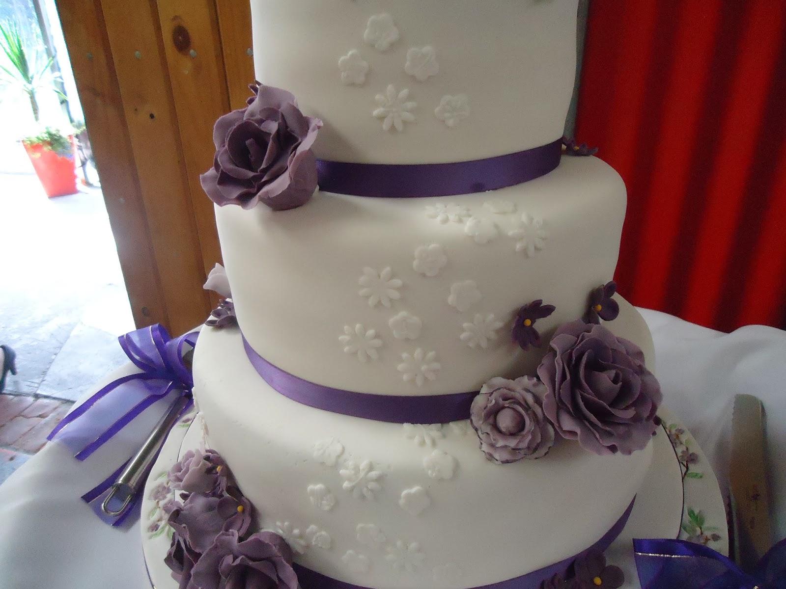 Fifi s Cakes Purple Flowers Wedding Cake