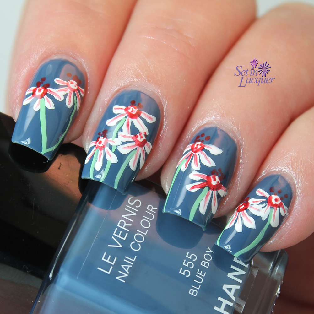 Floral nail art over Chanel Blue Boy