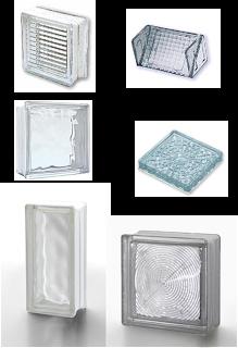 Alguns tipos de bloco de vidro disponíveis no mercado