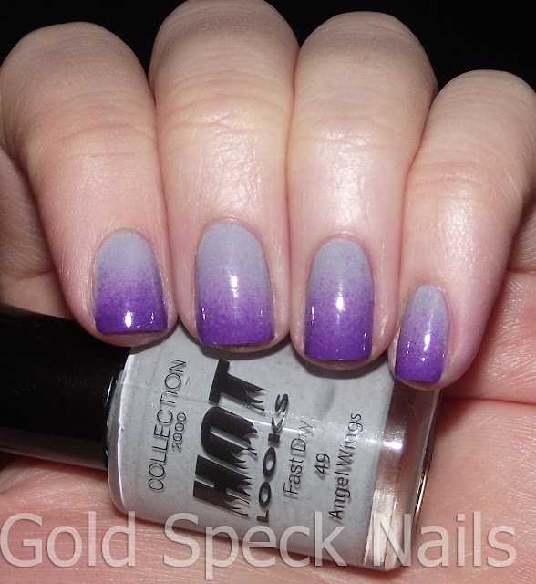 Gold Speck Nails Purple Gradient With Pink And White Stamping