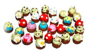 Polymer clay cupcake beads & charms