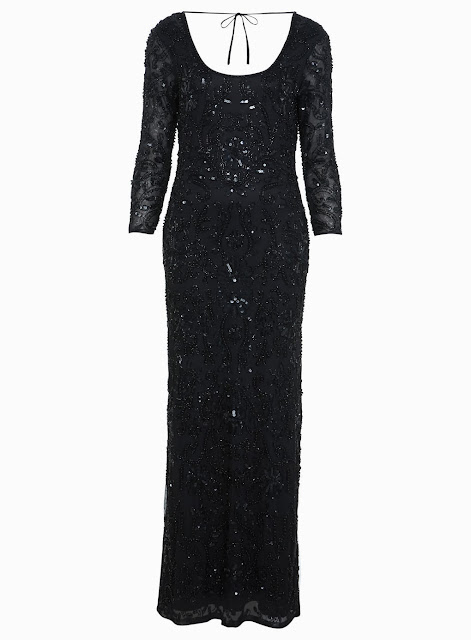 black sequinned full length dress
