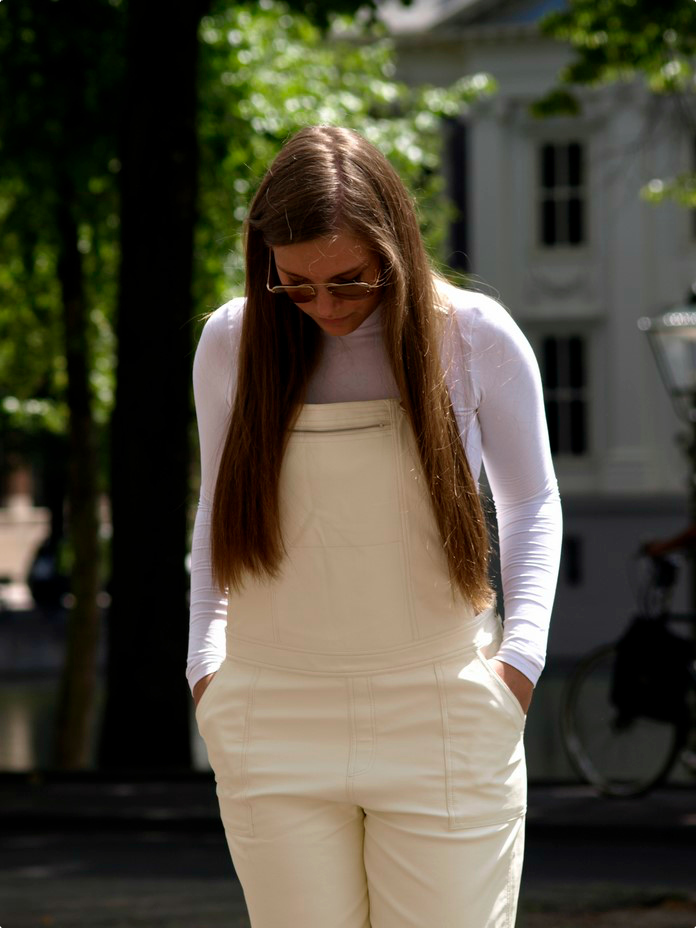 white, trend, dungaree, crop top