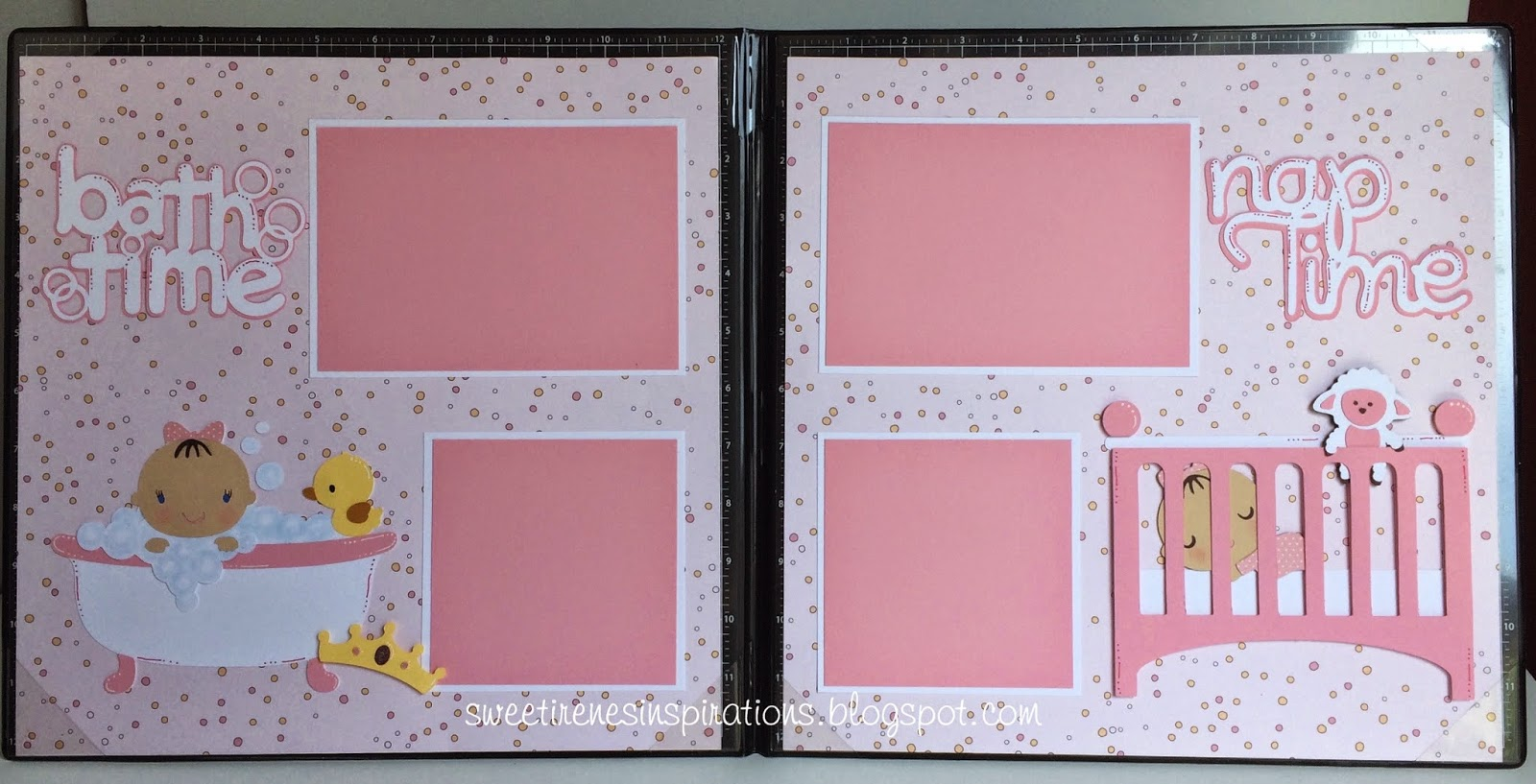 Scrapbook ideas for baby girl - Baby Girl Scrapbook Pages Bath And Nap Time