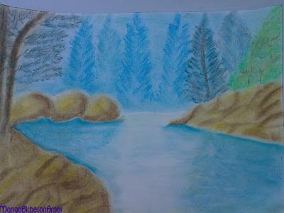 pintura  rio al pastel