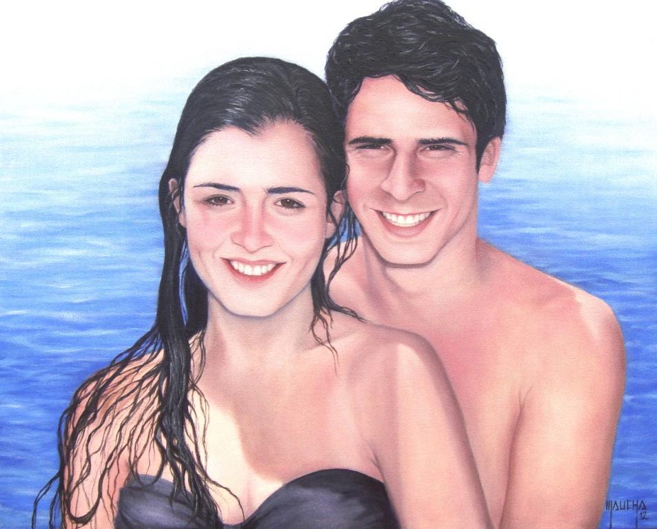 """""""Pietro e Júlia"""" (óleo s/ tela  40x50 - junho 2012)"""