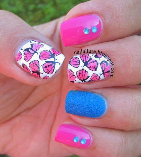 Pink Butterflies Stamped Nail Art Manicure