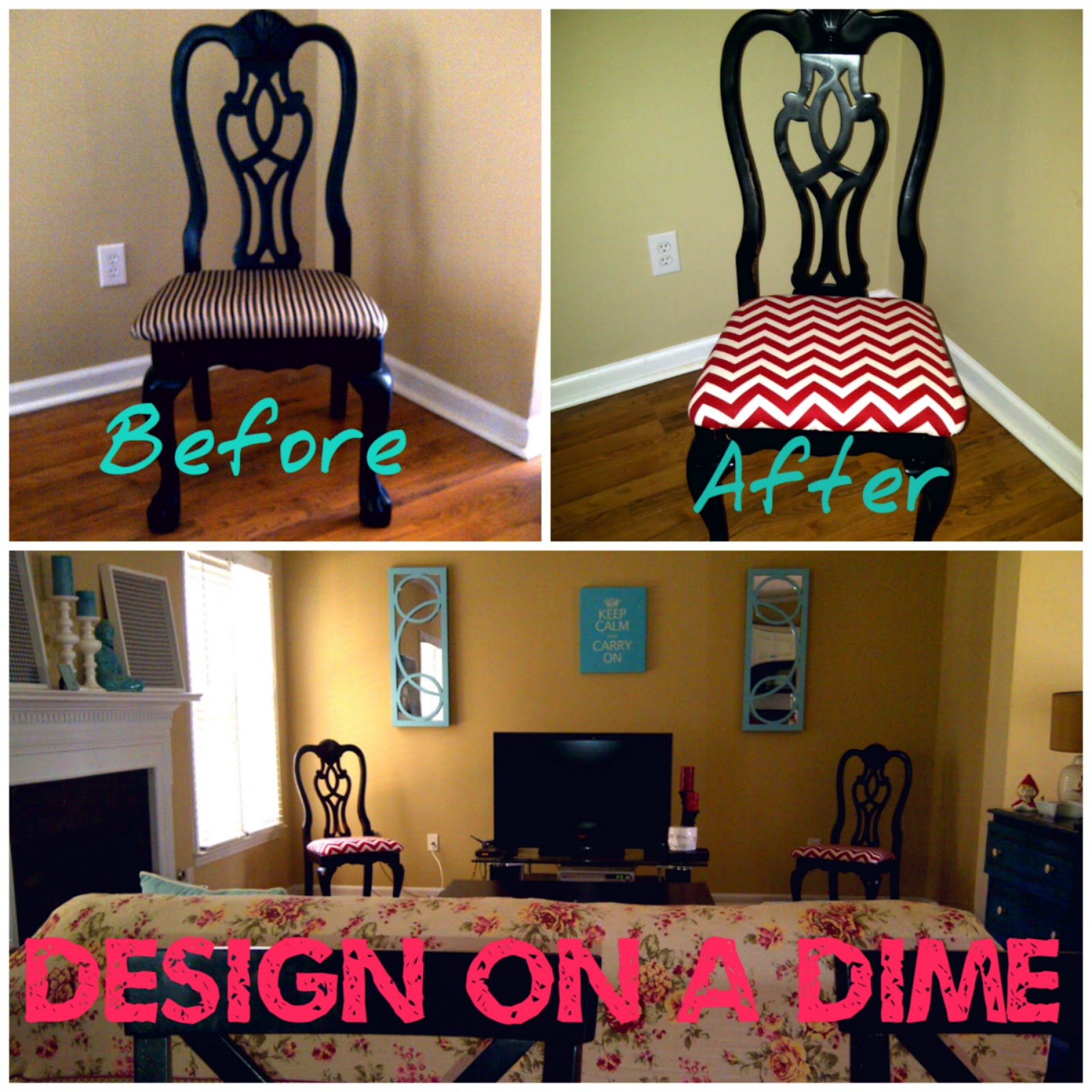 Design On A Dime Family Room Chevron Chairs Makeover