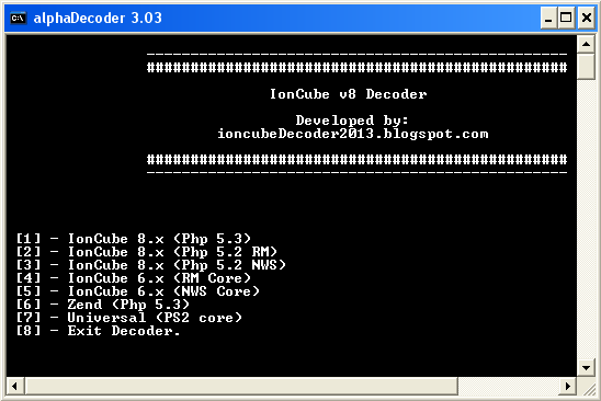 IonCube decoder v8, v7 and v6. Decode php files.