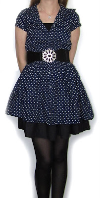 dress,outfit, spotty, dot, blue, layered, skirt, look