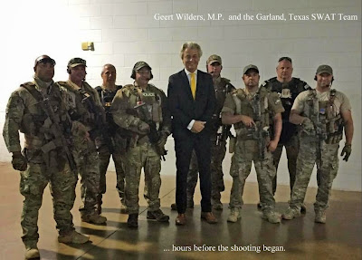 Geert Wilders, Dutch M.P. posing with Garland, Texas SWAT Team