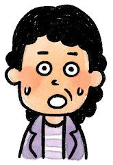 おばさんの表情のイラスト(驚き)
