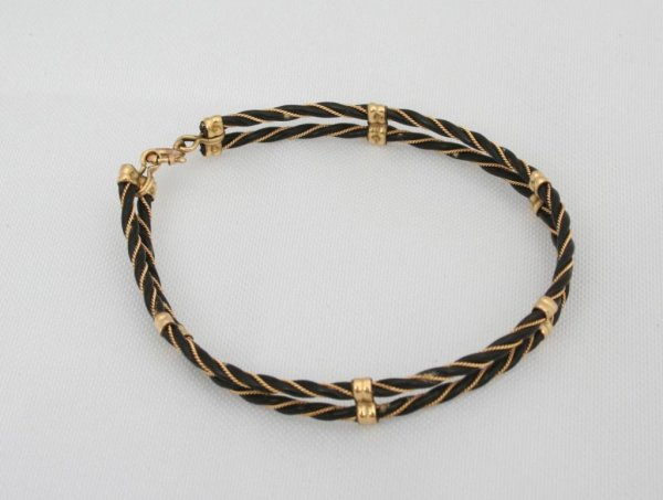 Elephant hair bracelet with gold for men - photo#19