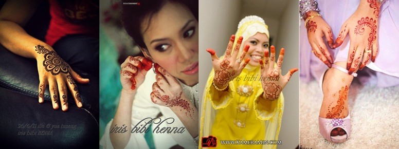 inai pengantin (ukiran henna) dan make up
