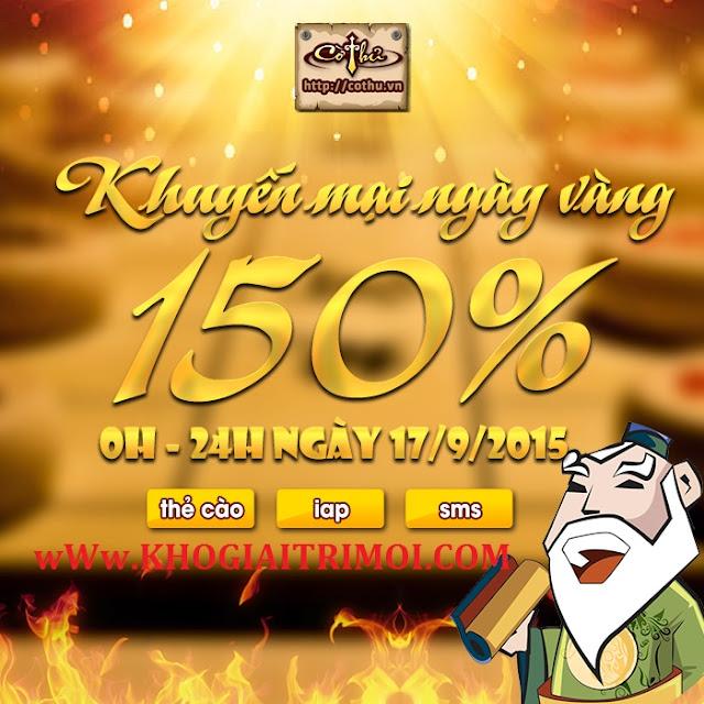 Game Cờ Thủ Online khuyến mãi Ngày Vàng 150% ngày 17/09