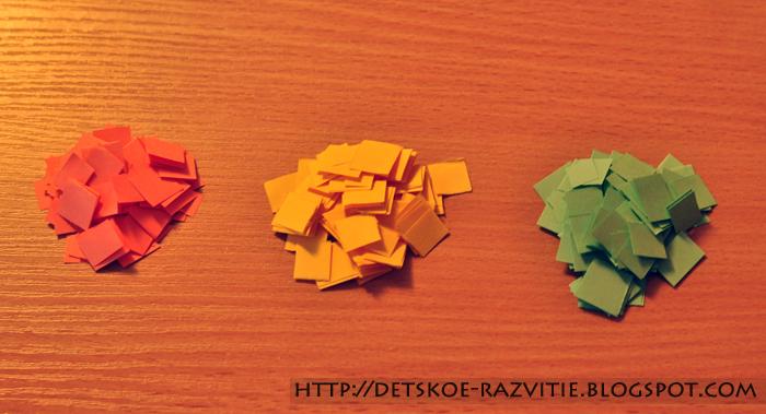 Кусочки цветной бумаги поделки