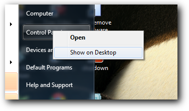Show control panel on desktop