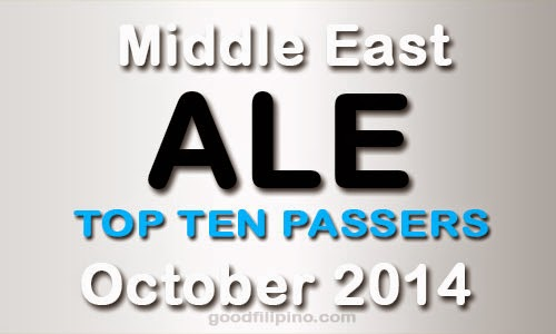 October 2014 Top 10 (ALE) Architect Board Exam Passers (Middle East)