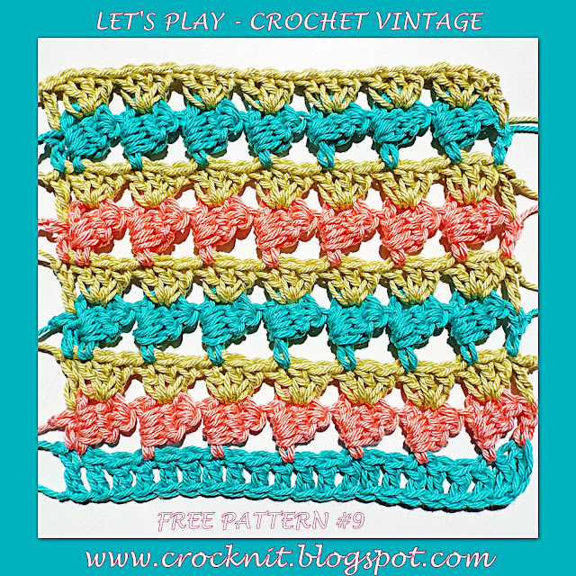 free crochet patters, how to crochet, vintage crochet, sideways stitch,