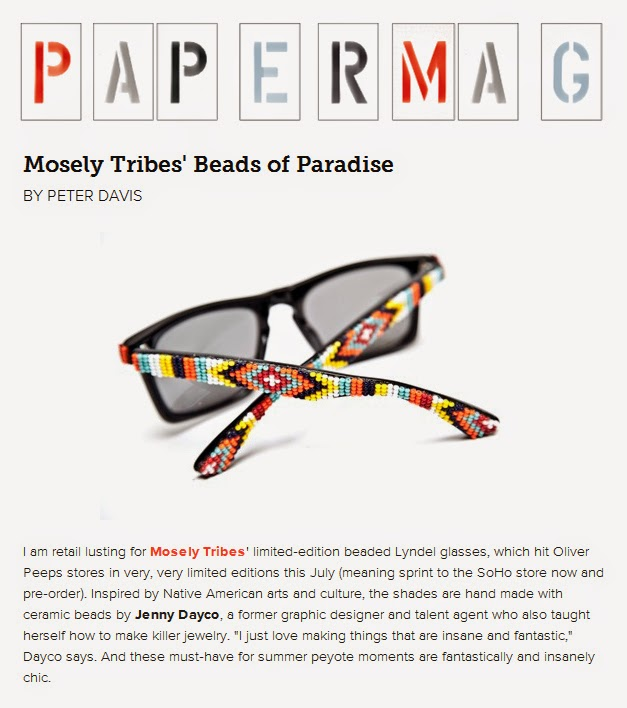 Paper magazine features beaded sunglasses by Jenny Dayco