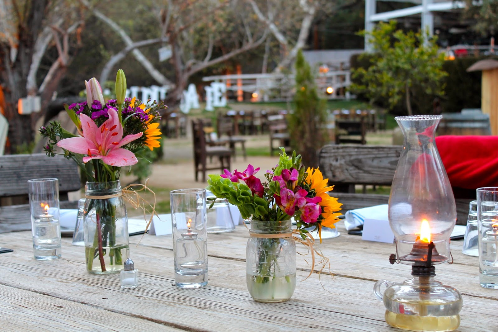 Malibu Cafe Flowers Candles Table Decor