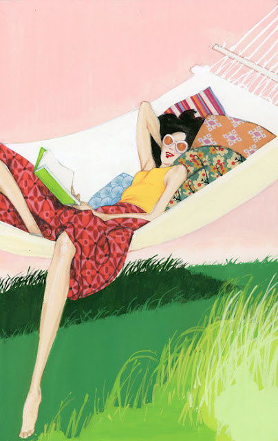 Illustration of a woman reading a book and relaxing in a hammock
