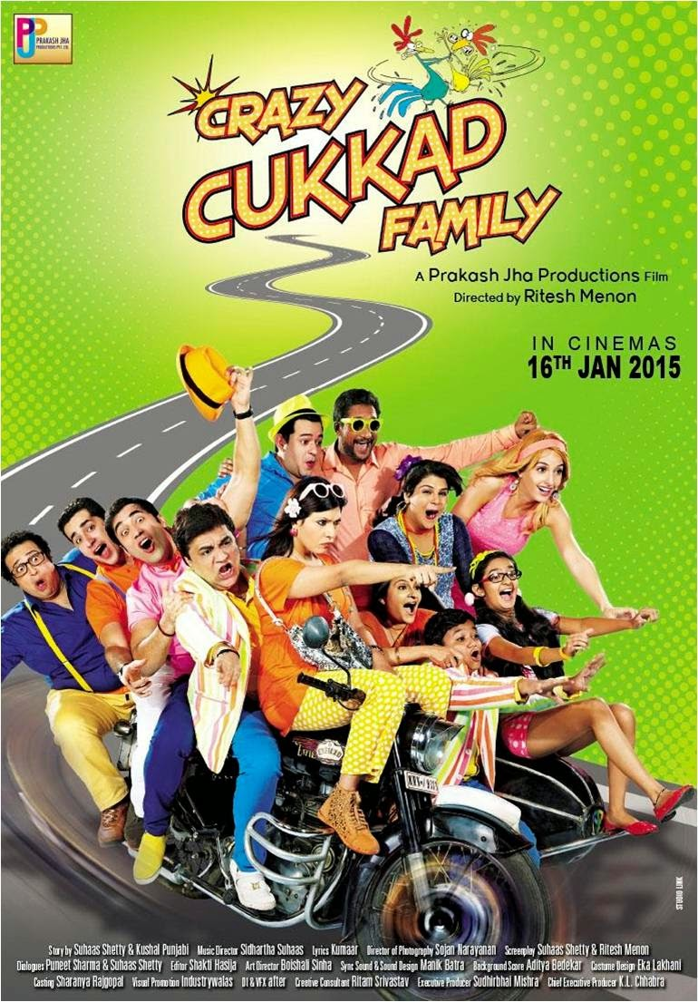 Crazy Cukkad Family travelling on road in movie poster