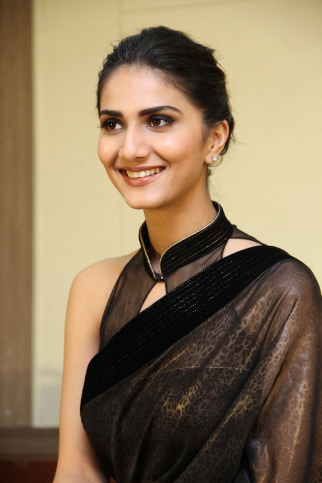 Vaani Kapoor  Pictures in Black Saree at Aaha Kalyanam Movie Interview ~ Celebs Next