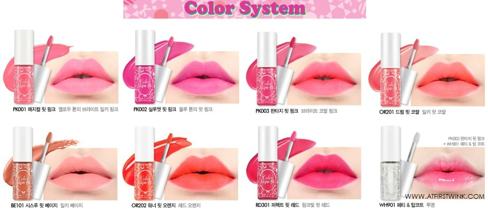 Etude House Color Lips-fit colors and swatches on lips