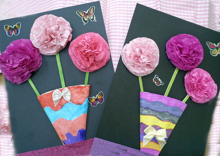 Craft and activities for all ages easy 3d tissue flowers in a vase so easy to make these 3d tissue flowers we put them in a vase and mounted them onto black card mightylinksfo